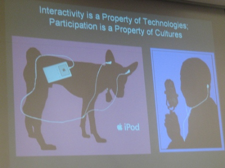 Interactivity is a property of technology, participation is a property of cultures